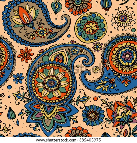 Seamless pattern based on traditional Asian elements Paisley. Blue and orange.