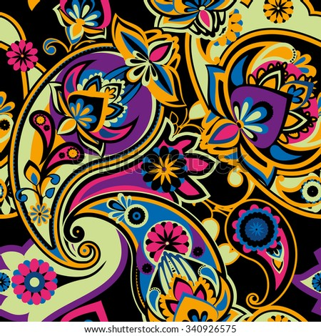 Seamless pattern based on traditional Asian elements Paisley. Bright colors: purple, yellow, blue and pink on a black background. - stock vector