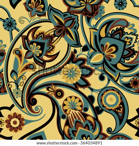 Seamless pattern based on traditional Asian elements Paisley. Grey, brown, cream. - stock vector
