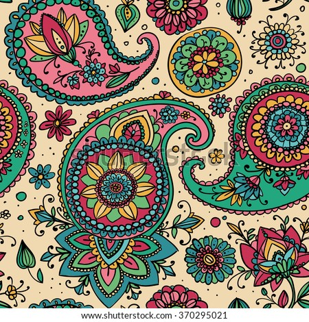 Seamless pattern based on traditional Asian elements Paisley. Pastel shades. - stock vector