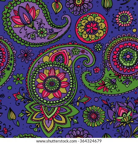 Seamless pattern based on traditional Asian elements Paisley. Purple, pink, green. - stock vector