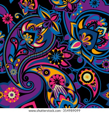 Seamless pattern based on traditional Asian elements Paisley. Purple, yellow, blue, black. - stock vector