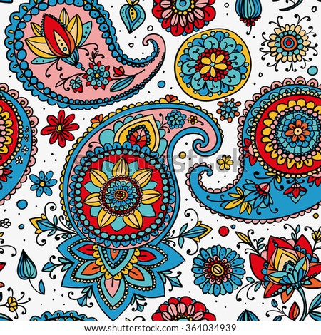 Seamless pattern based on traditional Asian elements Paisley. Red, blue, pink on a light background.