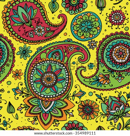 Seamless pattern based on traditional Asian elements Paisley. Yellow, pink, blue. - stock vector