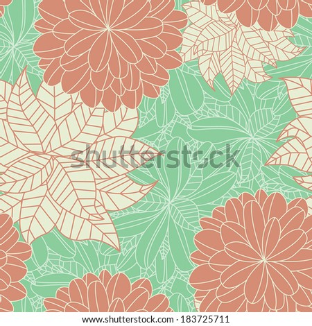 Seamless Pattern Beautiful Pink and Green Floral - stock vector