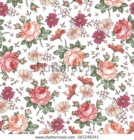 Seamless pattern. Beautiful pink blooming realistic isolated flowers. Vintage background textile. Chamomile, Rose, wildflowers. Wallpaper baroque. Drawing, engraving. Vector victorian Illustration. - stock vector