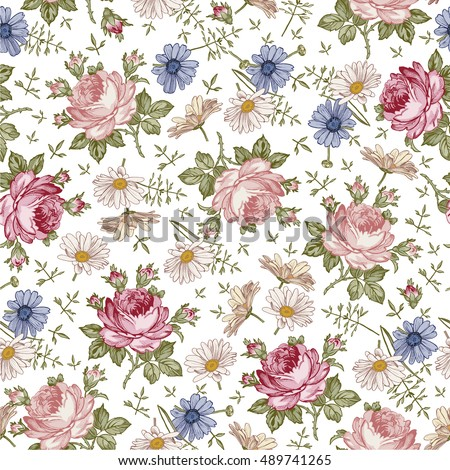 Seamless pattern. Beautiful pink blooming realistic isolated flowers. Vintage background textile. Chamomile, Rose, wildflowers. Wallpaper baroque. Drawing, engraving. Vector victorian Illustration.