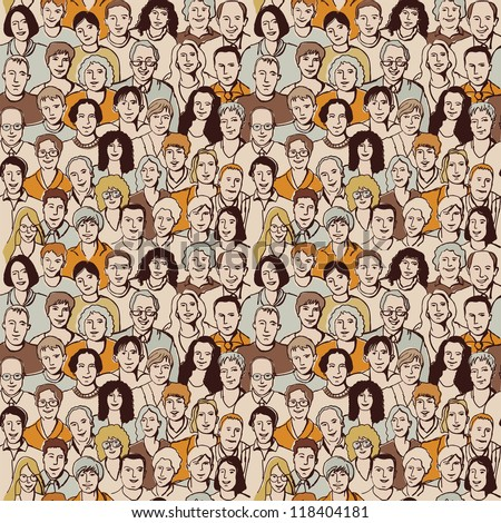 Seamless pattern big group unrecognizable people Color vector illustration with big crowd of people. Seamless pattern allow to make this group more and more. - stock vector