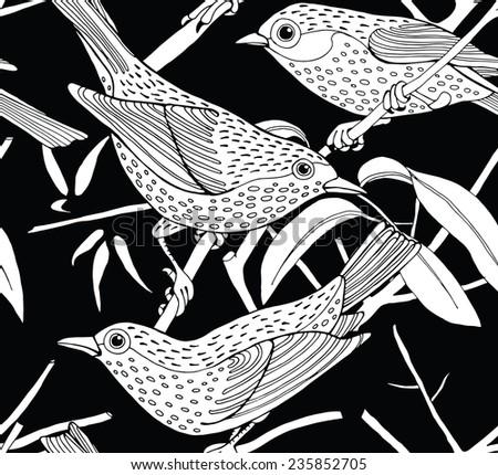 Seamless Pattern Bird Branch Black & White - stock vector