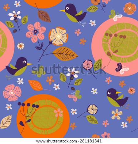 seamless pattern birds and flowers - stock vector