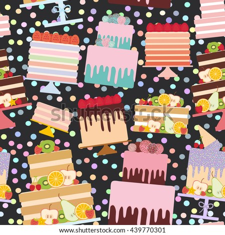 Seamless pattern Birthday, valentine's day, wedding, engagement. Set sweet cake, Cake Stand, fresh fruits berries, chocolate icing sprinkles, cake pops, pastel colors on black background. Vector - stock vector