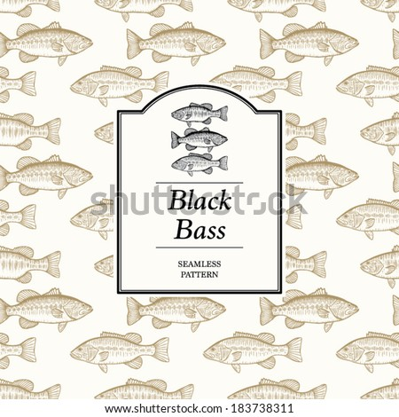 Seamless Pattern - Black Bass (the included label is isolated for easy removal) - stock vector