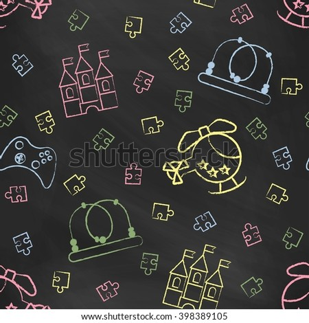 Seamless pattern black chalk board with color children's chalk drawings.  - stock vector