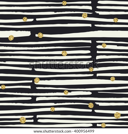 Seamless pattern. Black hand drawn bold lines and golden dots