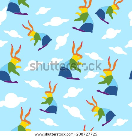 Seamless pattern. Blue sky with clouds and colorful rabbits. Vector background - stock vector