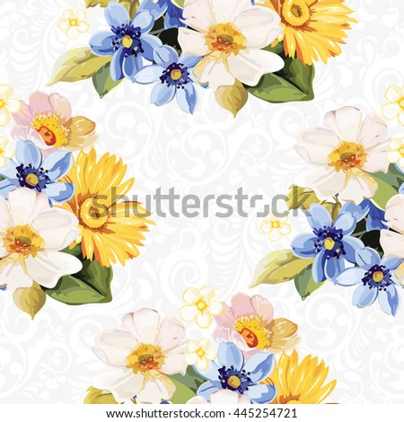 Seamless pattern blue white yellow Vector Illustration EPS8