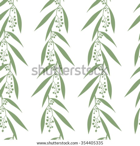 Seamless pattern branches of eucalyptus. Vector illustration. Floral background - stock vector