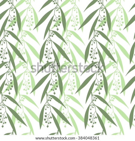 Seamless pattern branches of eucalyptus. Vector illustration.  Green floral background - stock vector