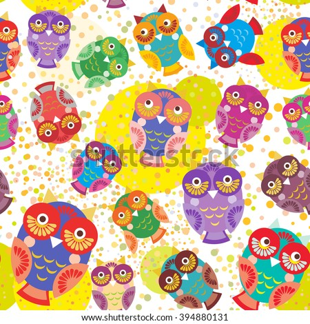 seamless pattern bright colorful cute owls on white background, funny birds face with winking eye, bright colors. Vector - stock vector