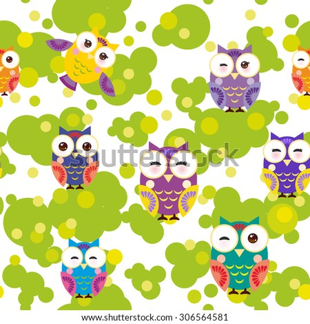 Seamless pattern - bright colorful owls and green leaves on white background. Vector - stock vector