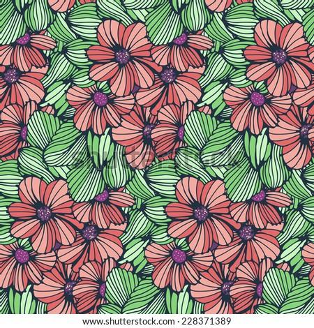 Seamless pattern - bright  flower background. Vector illustration. - stock vector
