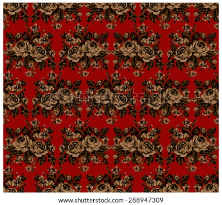 Seamless. Pattern.Brown bouquet of flowers (roses and cornflowers) on the red background using traditional Ukrainian embroidery elements.  Can be used as pixel-art. - stock vector