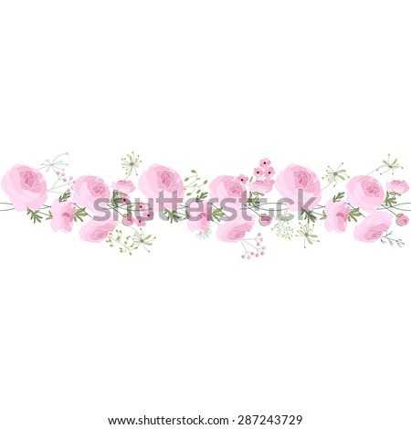 Seamless pattern brush with ranunculus,  stylized summer flowers. Endless horizontal texture. Contour, outline. Soft color.  For your design, greeting cards, wedding announcements, posters. - stock vector