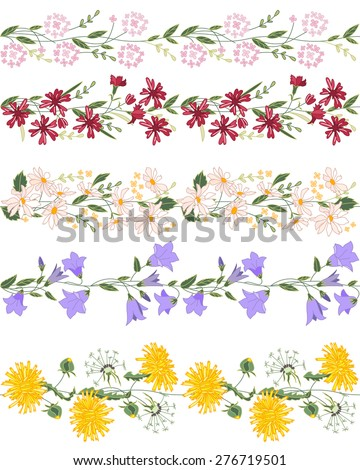 Seamless pattern brush with stylized bright summer flowers. Endless horizontal texture. Wild flowers - dangelion, daisy, campanula and others - stock vector