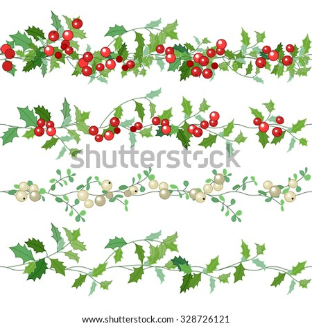 Seamless pattern brushes with  Christmas fir branches on white. Endless texture,  horizontal border for festive design, announcements, postcards, posters. - stock vector