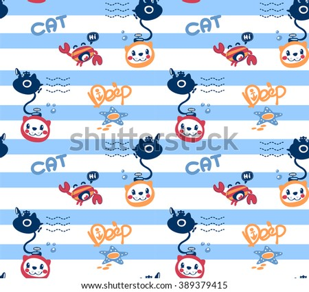 Seamless pattern, cartoon a cat diving with crab under deep water on blue and white lined background illustration vector. - stock vector