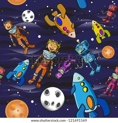 Seamless pattern cartoon children astronauts - stock vector