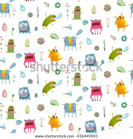 Seamless pattern cartoon monster background for children. Seamless pattern Fun Cute Cartoon Monsters for Kids Design. Vivid fabulous incredible creatures design isolated on white. - stock vector