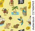 Seamless pattern cartoon pirates - stock vector