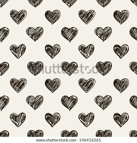 Seamless pattern. Casual polka dot texture. Stylish print with hand drawn hearts - stock vector