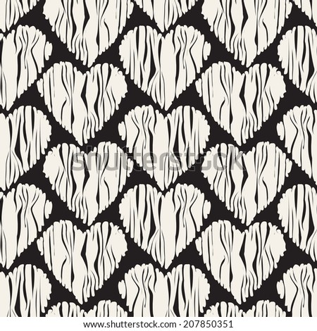 Seamless pattern. Casual polka dot texture. Stylish print with striped hearts. Volume effect of curvature - stock vector