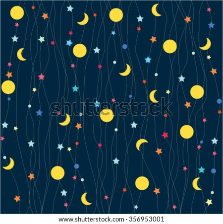 Seamless pattern child background. Moon and stars. - stock vector