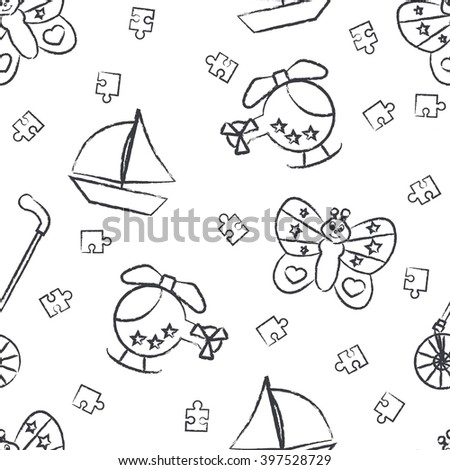 Seamless pattern children's black felt-tip pen drawings on white background. Hand-drawn style. Seamless vector wallpaper with the image Rolling toys, butterfly, helicopter, boat, puzzle - stock vector