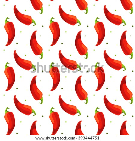 Seamless pattern chili pepper on white background - stock vector