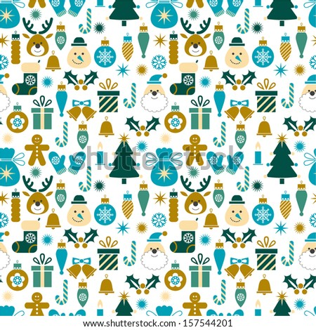 Seamless pattern Christmas symbols for textiles, interior design, for book design, website background.