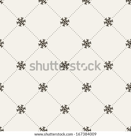 Seamless pattern. Christmas texture with snowflake and dotted rhombuses. Holiday background - stock vector