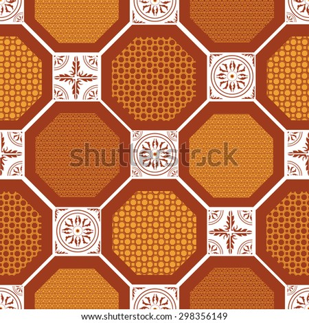 seamless pattern, circles, squares - stock vector