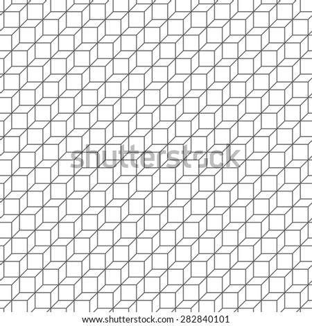 Seamless pattern. Classic geometric texture in the form of steps. Repeating diamonds, rhombus, hexagon. Monochrome. Backdrop. Web. Vector illustration - stock vector
