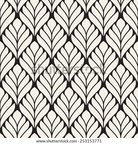 Seamless pattern. Classical floral ornament. Elegant stylized background. Vector repeating texture. Monochrome graphic design - stock vector