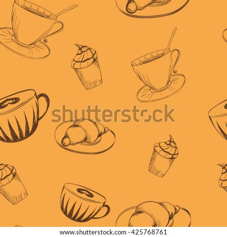 seamless pattern coffee drinks