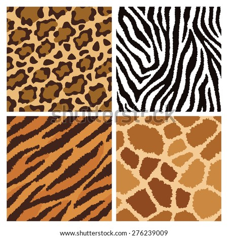 Seamless pattern collection of animal fur textures. - stock vector