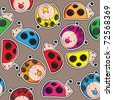 Seamless pattern - Colorful cute ladybugs - stock vector