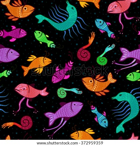 seamless pattern - colorful fantasy fish on black background - stock vector