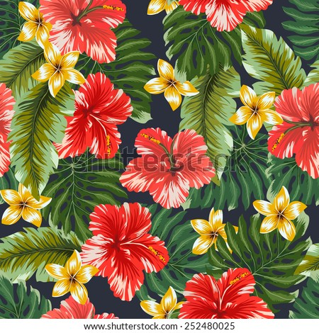 Seamless pattern Colorful hawaiian flowers on dark background. - stock vector