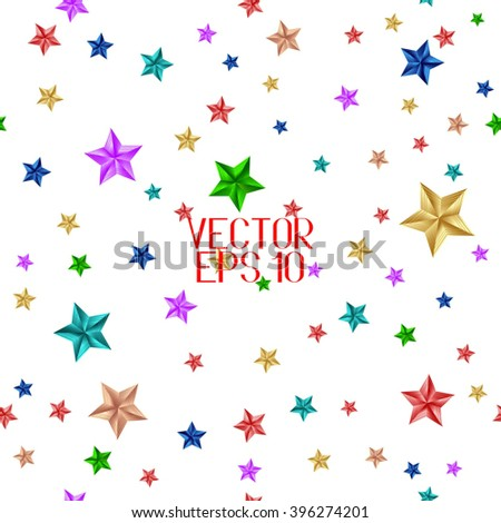 Seamless Pattern. Colorful Stars Isolated on White Background. Vector Illustration