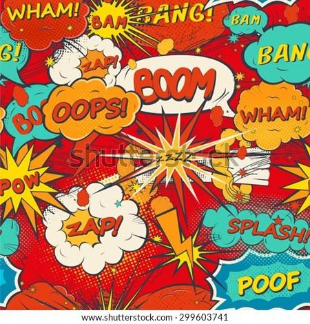 Seamless pattern comic speech bubbles in pop art style  - stock vector